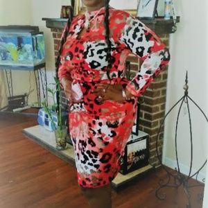 RED ANIMAL PRINT TRIPLE KEYHOLE DRESS